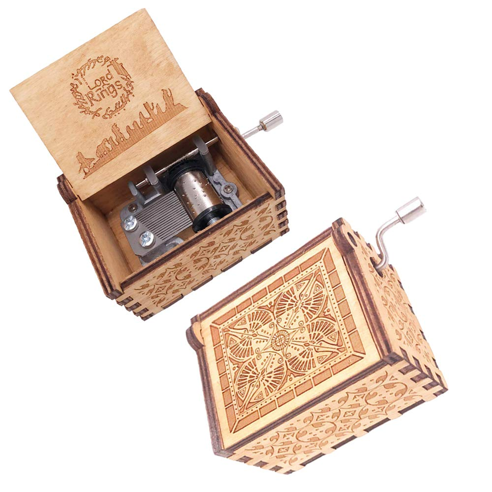 FnLy 18 Notes Wooden Engraved The Lord of The Rings Theme Music Box,Antique Carved Hand Crank Small Musical Box Gift,Brown