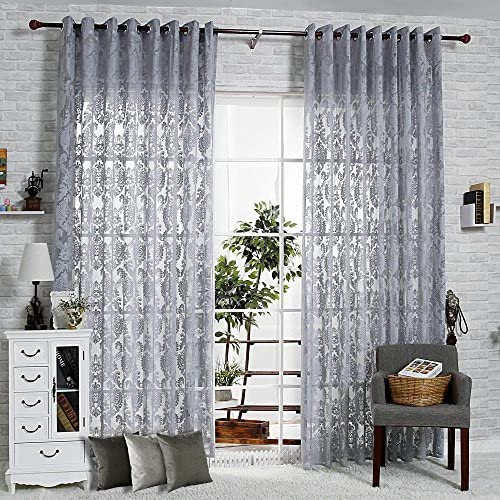 R.LANG Solid Grommet Top Beautiful Design Jacquard Sheer Curtain 1 Pair Gray 66 W X 90 L