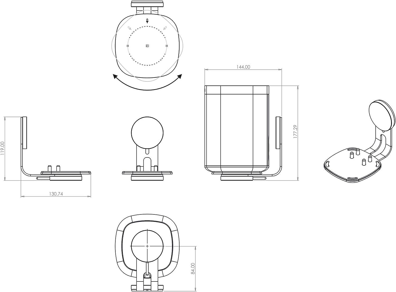 Gen2 Nova Support mural pivotant /à gauche et /à droite pour Sonos One Gen1 One SL et Play:1