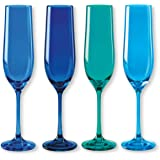 Bruno Evrard Flûtes à champagne en verre bleu 19cl - Lot de 4 - KADOR