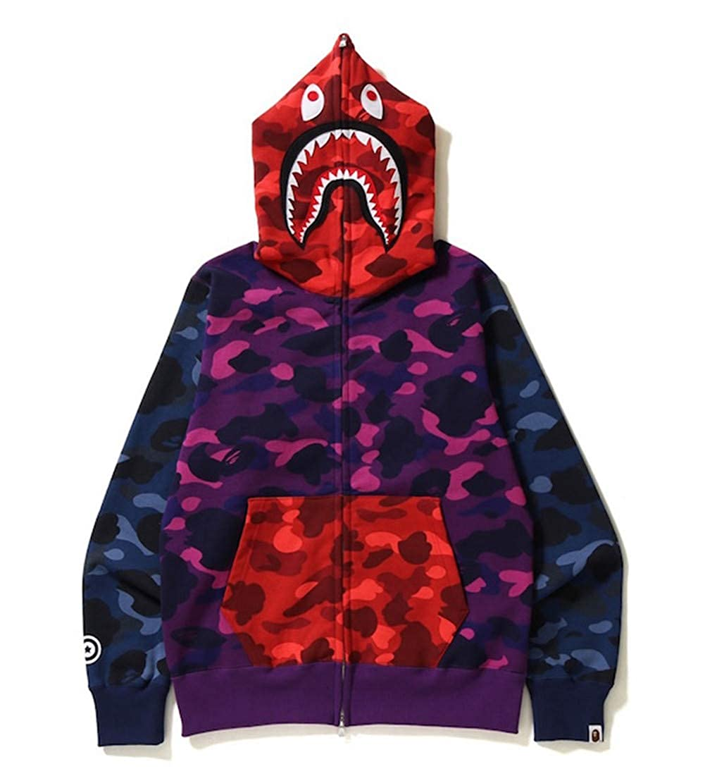 Bape Shark Hoodie|Bape Shark Street Camouflage Sweater Sweater Hoodie Cardigan Boys Girls Men Women: Amazon.es: Ropa y accesorios