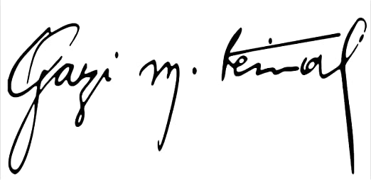 Gazi Mustafa Kemal Atatürk Imza Unterschrift Auto Aufkleber Weiß 16x4,5cm