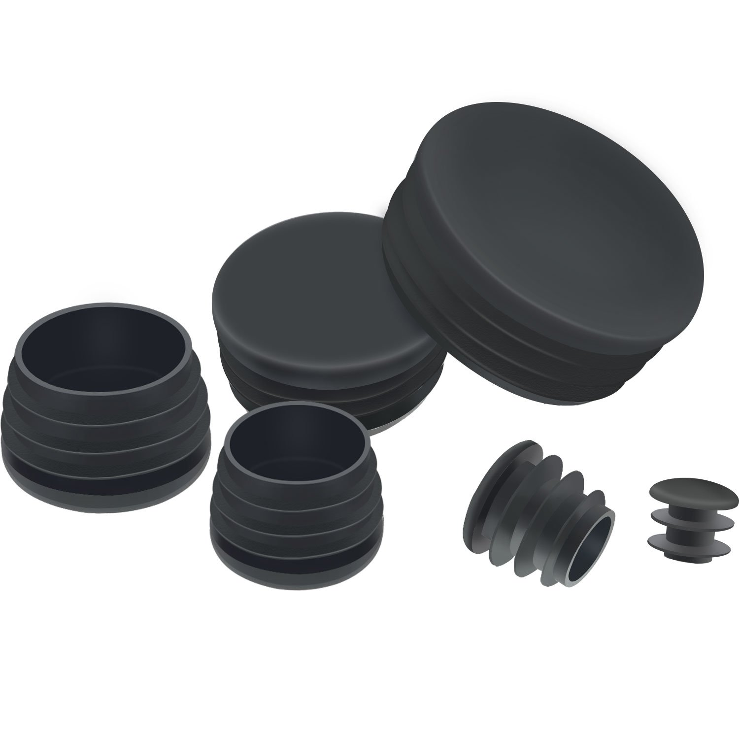 10 Round Plastic End Caps Blanking Plugs Pipe Tube Insert Chair Table Glide Legs
