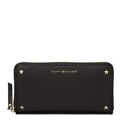 Tommy Hilfiger - Star Studded Leather Lrg Za Wallet, Carteras Mujer, Negro (Black