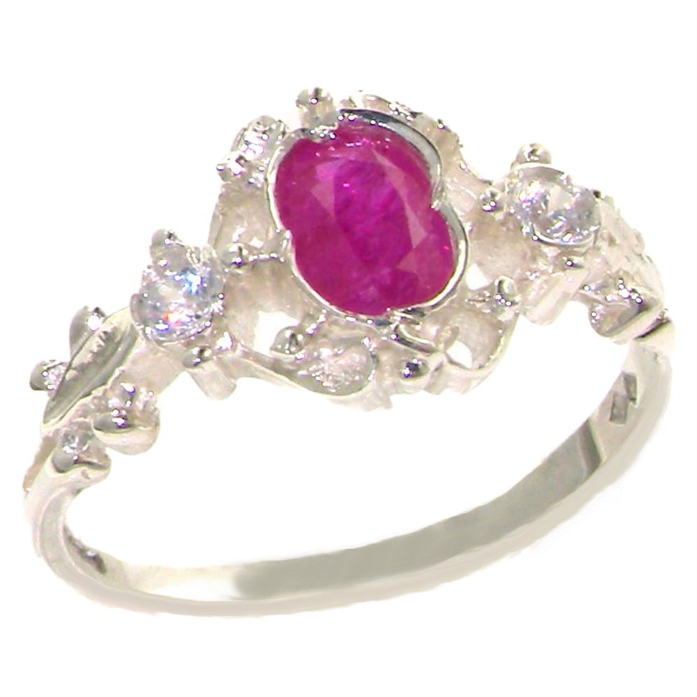 925 Sterling Silver Cubic Zirconia and Real Genuine Ruby Womens Band Ring