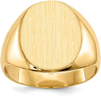 Roy Rose Jewelry 14K Yellow Gold Solid Back Mens or Womens Signet Ring Custom Personailzed with Free Engraving Available Initial
