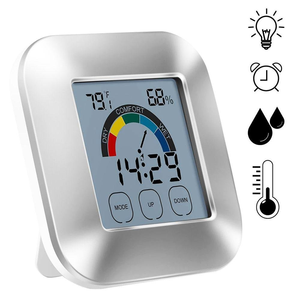 Digital Humidity Monitor Thermometer Clock - Teepao LED Atomic Wall Clock- Indoor Electronic Touch Type Digital Weather Station Alarm Clock with Comfort Indicator, Battery Operated(Without Batteries)