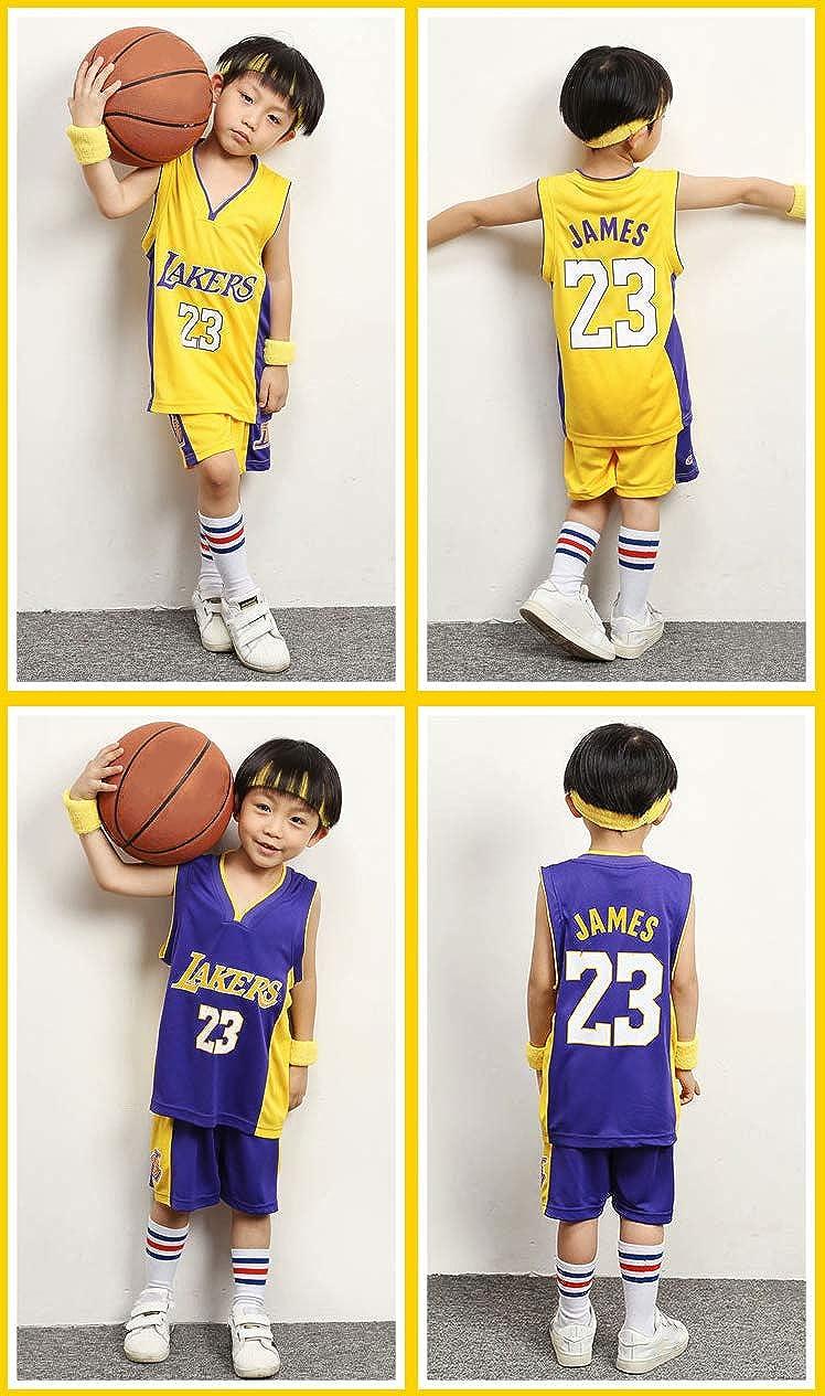 Boys Girls Basketball Jerseys James 23 Number Lakers Kids Basketball Shirt Vest top Summer Shorts Vest Kit Competition Training Sports