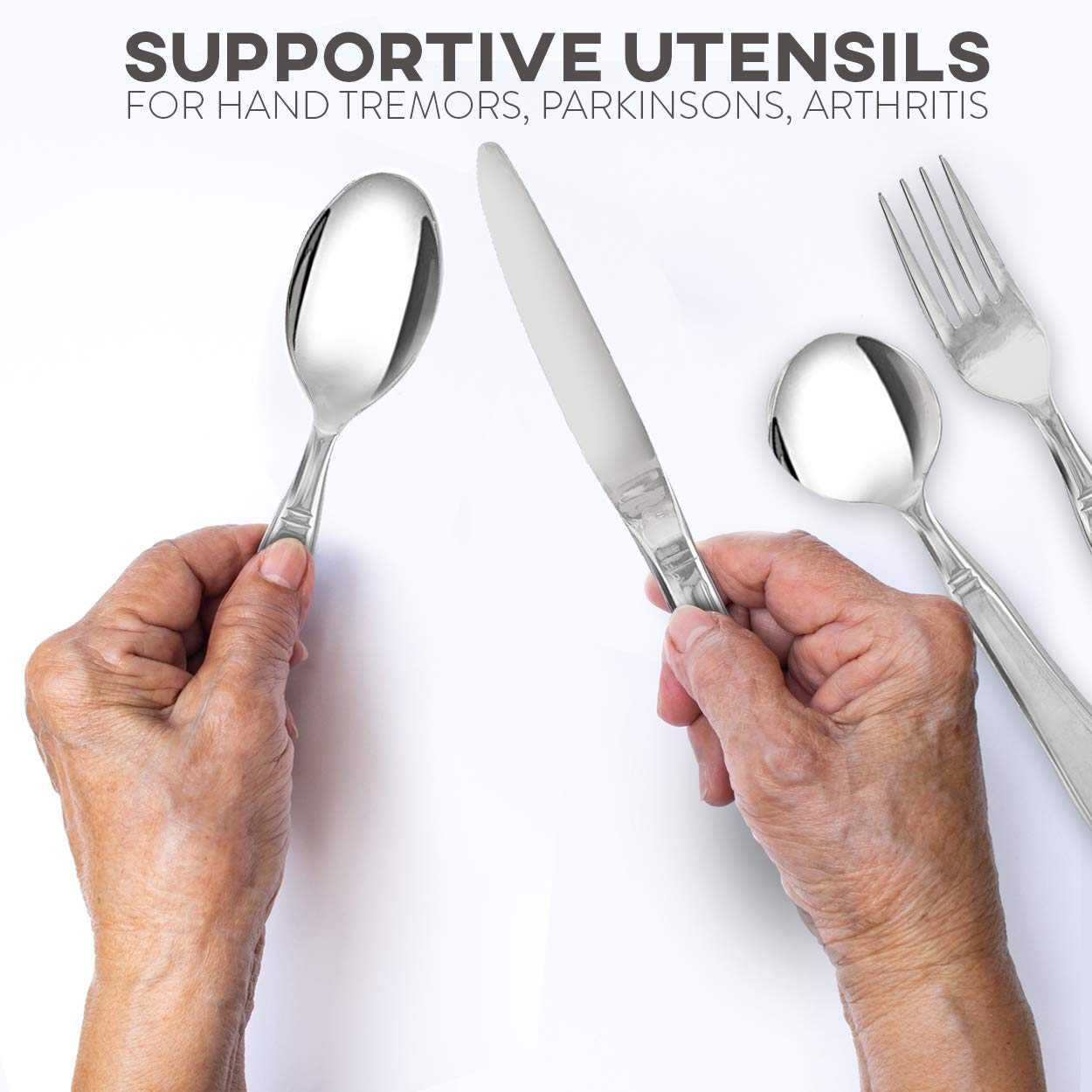 Linelax Weighted Utensils for Tremors and Parkinsons Patients - Heavy Weight Steel Silverware Set of Knife, Fork, Teaspoon and Soup Spoon - Adaptive Eating Flatware Helps Hand Tremor, Parkinson, Arthr by Linelax (Image #6)