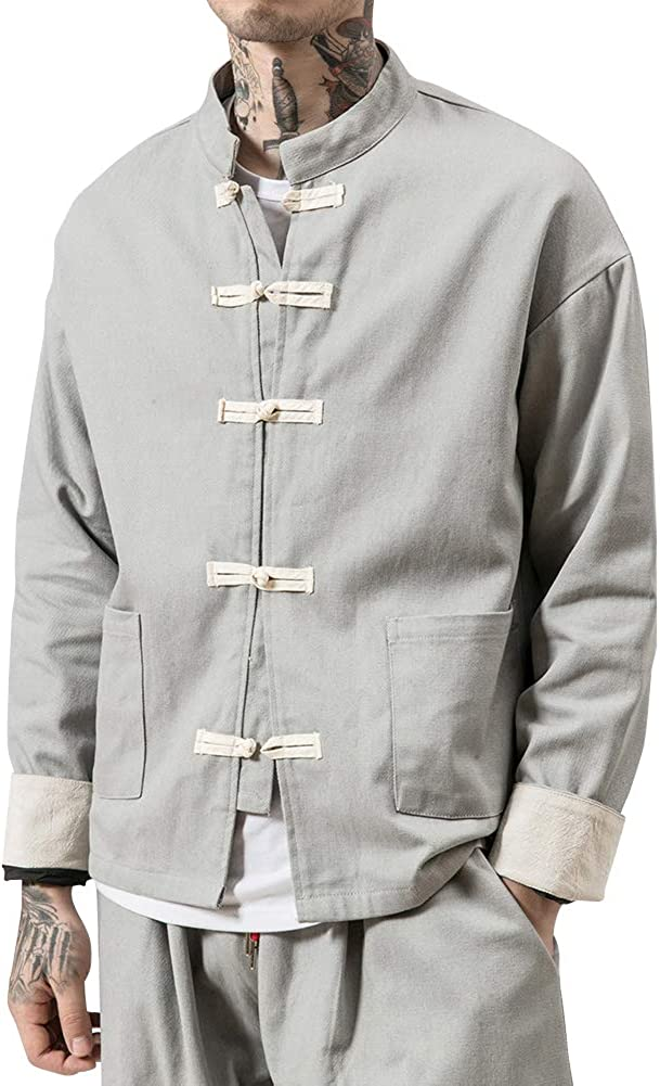 Homme Veste R/étro Chinois Style Lin Et Coton M/élange Manteau Kung-Fu V/êtement Costume De Tang Kung Fu Chemise Casual
