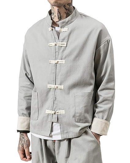 03970c88b71c Homme T-Shirt À Bouton Rétro Devant Poche Veste De Tang Kung-Fu Top ...