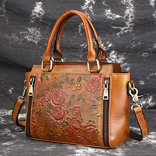 ハンドバッグ - 三次元のエンボス加工革のハンドバッグ、レトロショルダーバッグメッセンジャーバッグ、スエード革、茶色、* 10 25 * 20センチメートル よくできた