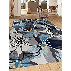 """Modern Large Floral Non-Slip (Non-Skid) Area Rug 5 X 7 (5' 3"""" X 7' 3"""") Gray-Blue"""
