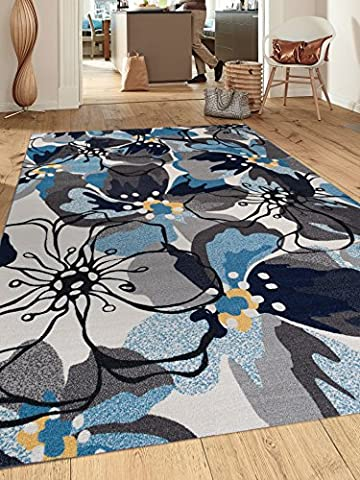 Modern Large Floral Non-Slip (Non-Skid) Area Rug 8 x 10 (7' 10