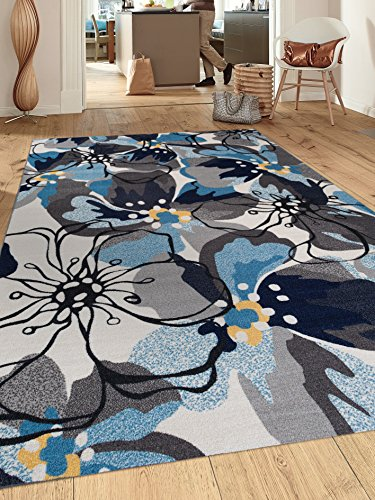 5' Floral Area Rug (Modern Large Floral Non-Slip (Non-Skid) Area Rug 5 X 7 (5' 3