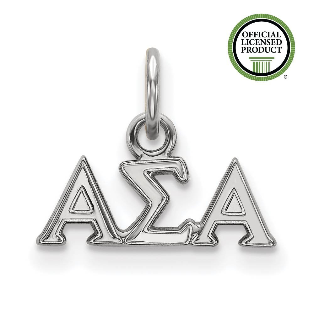 925 Sterling Silver Rhodium-plated Alpha Sigma Alpha Extra Small Charm Sorority Pendant