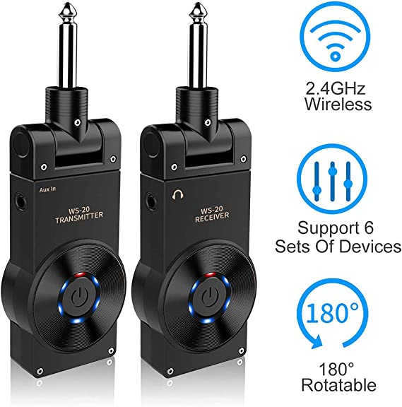 Vilihy Rowin 2.4G Rechargeable Guitar Wireless Transmitter Receiver Wireless Guitar System with 8 Hours Working Time