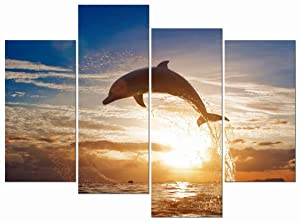 Wieco Art Happy Dolphin Giclee Canvas Prints Wall Art Ocean Animals Sea Beach Landscape Pictures Paintings for Living Room Bedroom Home Decorations Large 4 Piece Modern Grace Seascape Artwork L