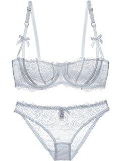 e7e6de7491 Aivtalk Women Sexy Lace Bra and Panty Set Underwire Push Up Soft Lingerie  Set