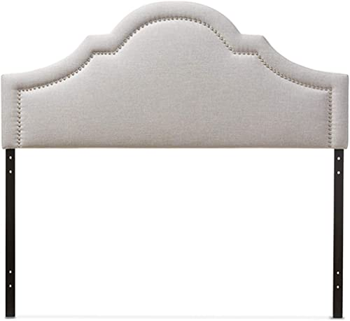 Baxton Studio Ritta Modern And Contemporary Fabric Upholstered Headboard Beige/Queen Size/Contemporary