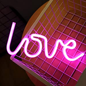 LED Neon Signs for Wall Decor,USB or Battery Operated,Night Lights Lamps Art Decor,Wall Decoration Table Lights,Decorative for Home Party Living Room (Love - Pink)