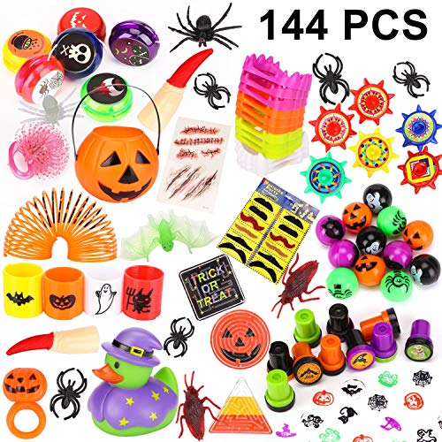 Schour 144 Pieces Halloween Toys Novelty Assortment for Halloween Party Favors, Halloween Gifts,Halloween Prizes,School Classroom Rewards, Trick or Treating for $<!--$9.99-->
