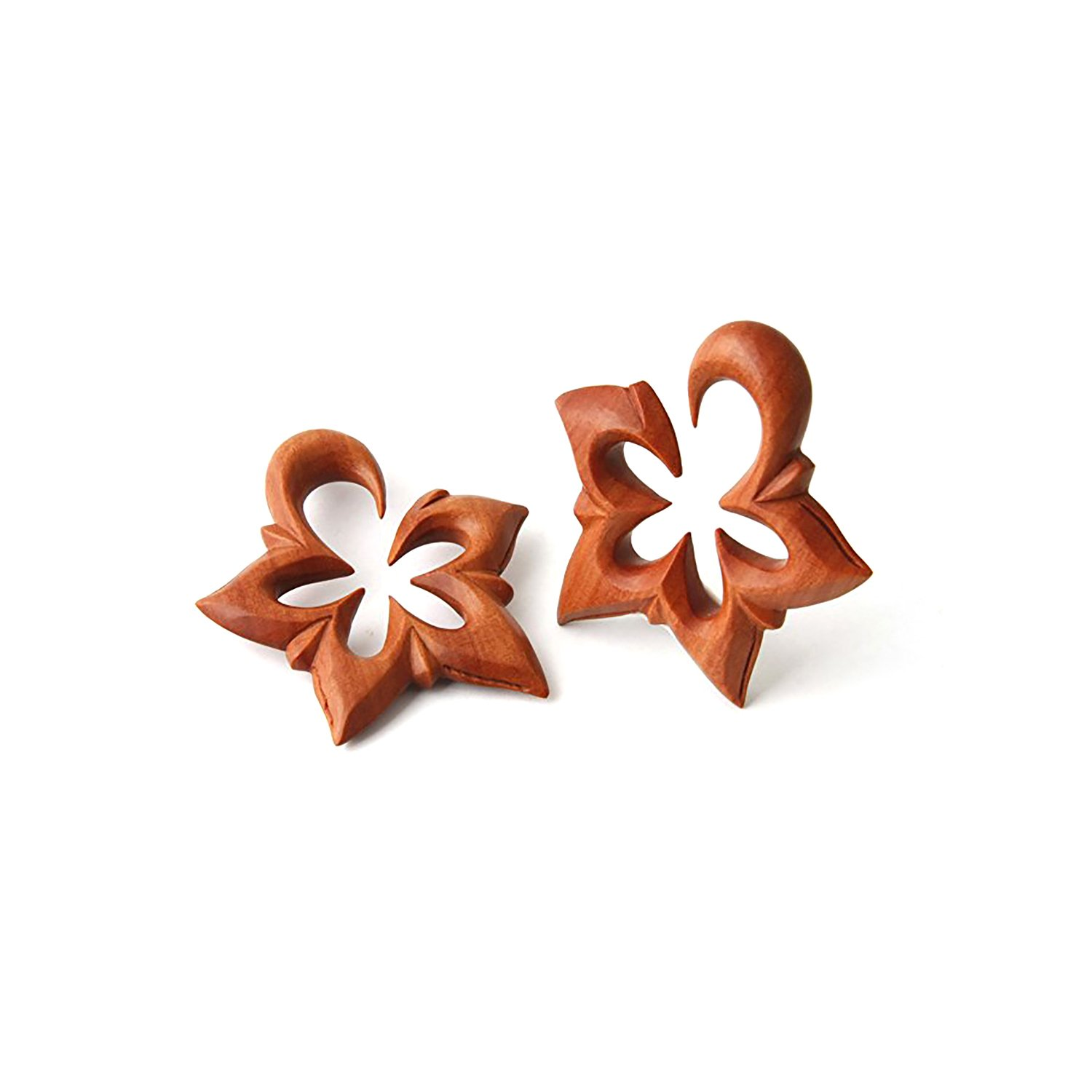 JewelryVolt Pair Double Carved Sono Wood Star Shaped Cut Out Ear Tapper Hanging Earring Plug Pincher Gauges Floral for Girls Jewelry Volt