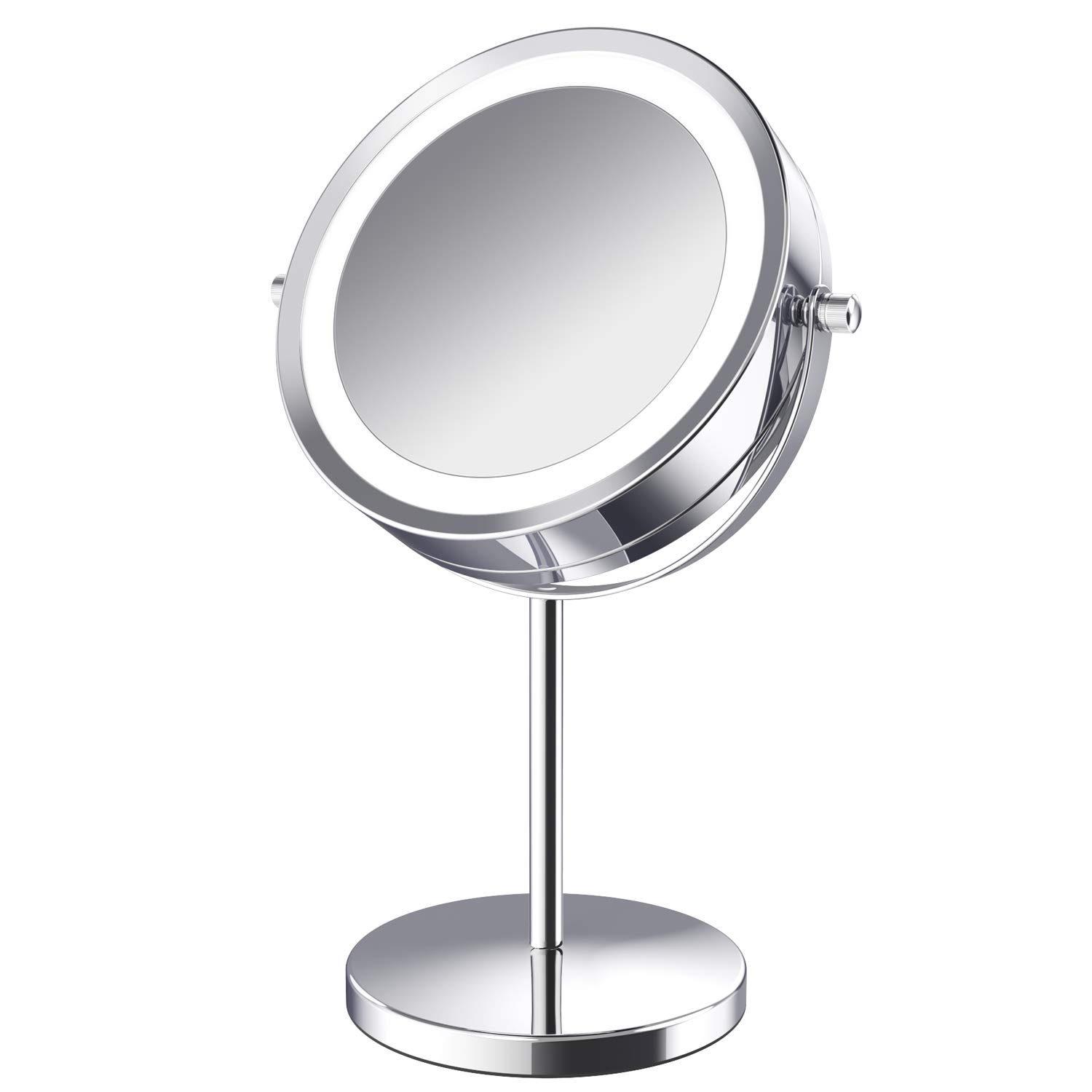 Makeup Mirror.Lighted Makeup Mirror 7 Inch Led Vanity Swivel Mirror 1x 10x Magnifying Double Sided Mirror With Stand