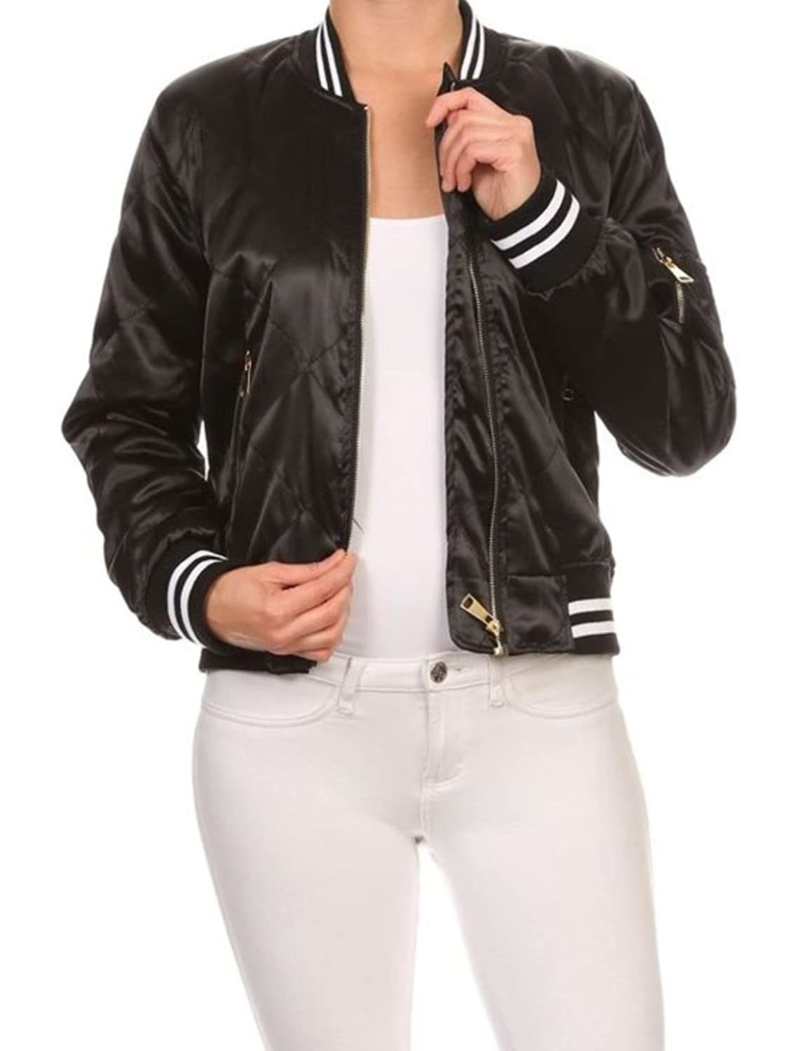 makeitmint Women's Silky Baseball Style Quilted Zip Up Bomber Jacket w/ Pockets