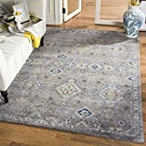 "Safavieh Evoke Collection EVK224G Contemporary Dark Grey and Yellow Area Rug (6'7"" x 9')"