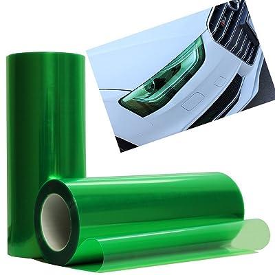12 by 48 Inches Self Adhesive Headlight, Tail Lights, Fog Lights Tint Vinyl Film (12 X 48, Green): Automotive
