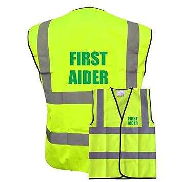 Hi Vis Viz FIRST AIDER Yellow Reflective Vest Jacket Safety Waistcoat Plus a Brook Hi Vis UK Discount Code for your next order