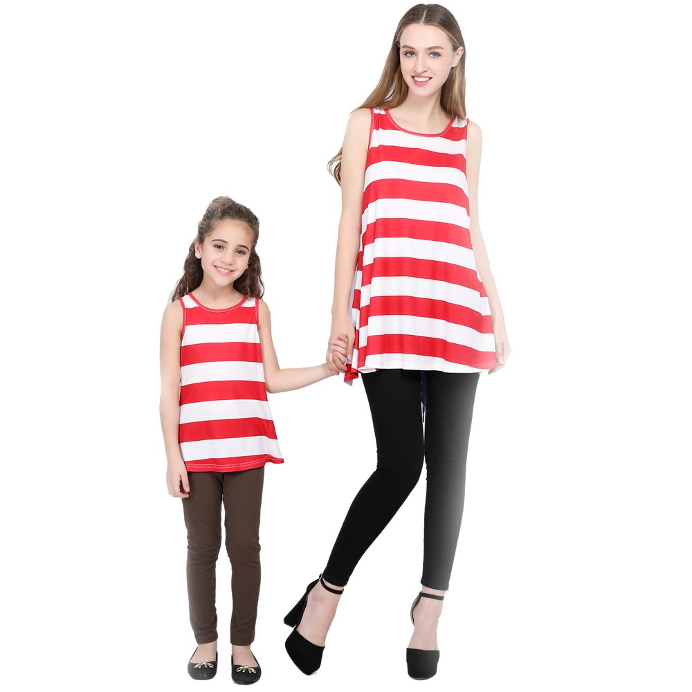 L-fannitily 2018 Family Matching Lace Pocket Stripe Lace Top Coat Fashion Lovely Big Bow Tie Lace Stripe T-Shirt (6T)