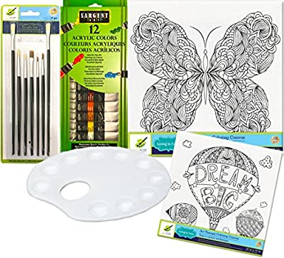 Art Therapy Butterfly + Dream Balloon Paint set with 12 Color Acrylic Paints / Brush Set & Palette Color your own picture art kit
