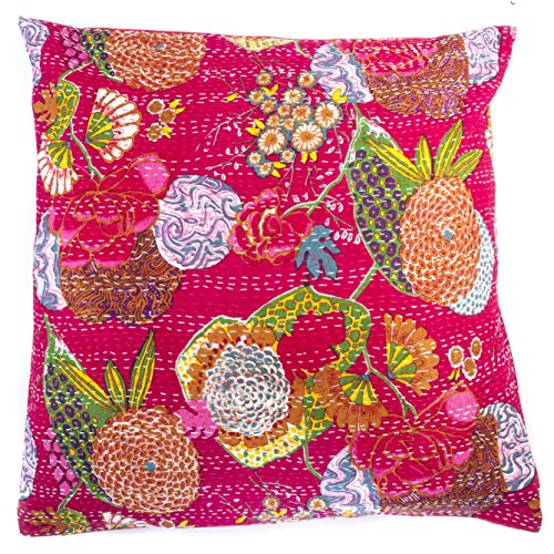 24x24 Dark Fuchsia Floral Block Print Organic Cotton Pillow Cover - Hand-Stitched and Hand-Printed - Designer Handmade (Designer Printed Cotton)