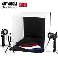 """ESDDI Studio Portabile Fotografico,Tenda di Illuminazione Piccola Shooting Tent,16""""x16""""/40x40cm Foto Studio Box,con Due Portalampade Indipendenti a LED,Panno di Sfondo a Quattro Colori"""
