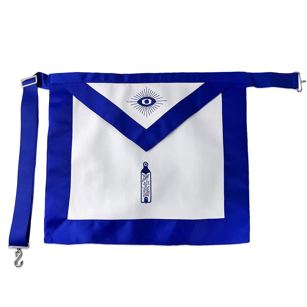Masonic Apron Junior Warden Blue Lodge Master Mason Blue Ribbon Borders