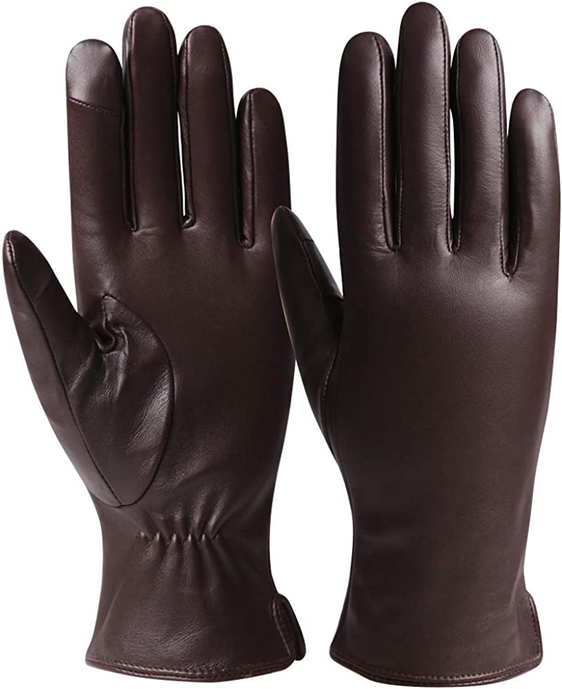 Womens Leather Gloves Winter Driving Touchscreen Texting Gloves