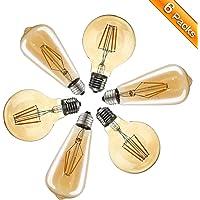 Ampoule Vintage, Elfeland 6x E27 4W Ampoule Filament LED Ampoule Edison Lumière Décorative 2200K 400LM Idéal pour Nostalgie et l'éclairage Rétro Blanc Chaud Modèle G80 & ST64