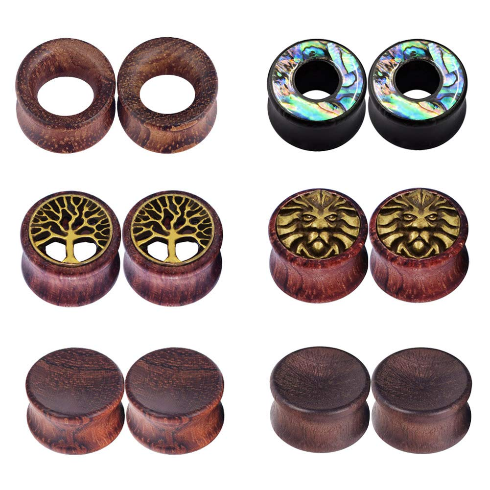 IU Mode 6Pairs Natural Organic Wood Hollow Double Flared Flesh Tunnels Ear Expander 3/4''(20mm) by Stuppendux