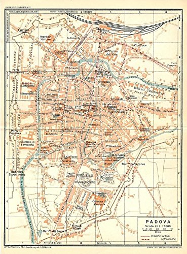 Padua Italy 1927 Detailed Color Lithograph City Plan Map At Amazon S