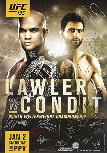 """UFC 195 Lawler vs. Condit Autographed 27"""" x 39"""" 24-Signature Event Poster - Fanatics Authentic Certified by Sports..."""