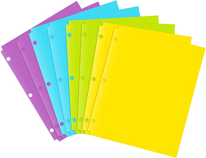 2 With 3 Holes 8pcs 8Pack Details about  /MAKHISTORY Plastic Folders with 3 Hole