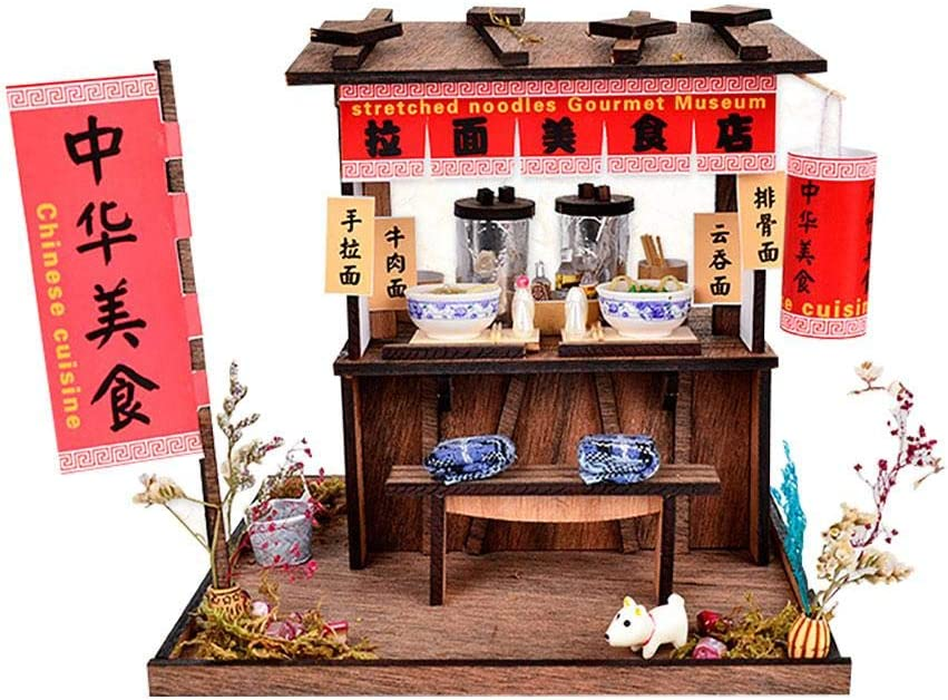 XLZSP DIY Dollhouse Miniature Furniture Kit Assembly Chinese Hand-Pulled Noodle Shop Dollhouse Led Lights Accessories Hand Craft Children Puzzle Toy Birthday Gift
