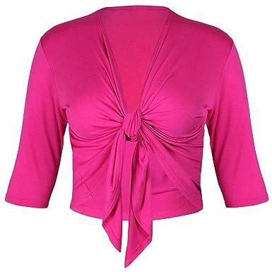 b81e7383cb008f Neu Damen Halb Dreiviertelärmel Krawatte Schulterjacke Damen Übergröße  Trikot Bolero Strickjacke Top: Amazon.de: Bekleidung