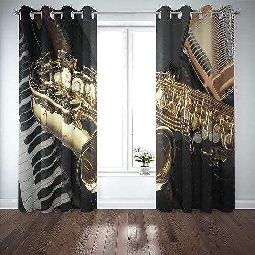 Teepel Door Window Curtain Boho Window Curtains 52 X 84 Inches 2 Panels . Grand Piano Saxophone Curtains