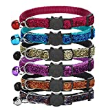 GingerUP Glitter Cat Collars With Bell & Quick Release Safety Buckle, Adjustable and Suitable For All Domestic Cats & Larger Kittens (6 Pack)