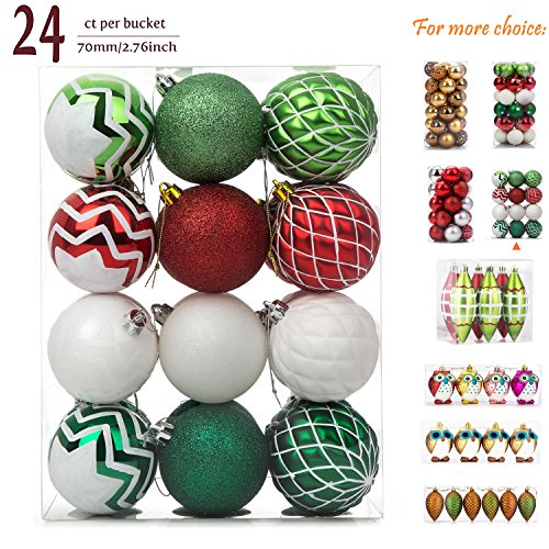 iPEGTOP Christmas Balls Ornaments - 24ct Shatterproof Glitter Swirl Color Painting Ball Baubles for Holiday Wedding Party Christmas Tree Decorations - Red Green and White -70mm/2.76