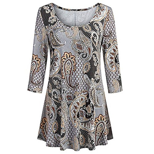 Beaded Embroidered Suit - Wintialy Fashion Womens Casual Floral Print Shirts 3/4 Sleeves O-Neck Tunic Blouse Tops