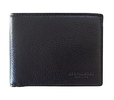 Amazon Com Coach Black Leather Mens Wallet Pebble Leather Wallet